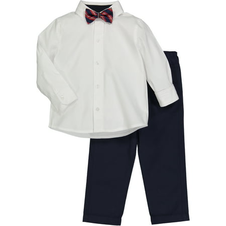 Boys' White Dress Shirt And Stiped Bowtie Set - White Dress Shirt Boys