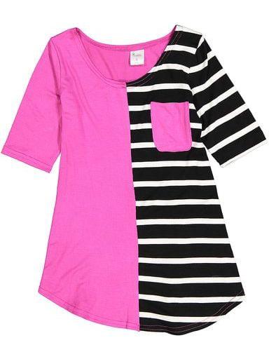 Little Girls Pink Black White Stripe Cotton Pocket Tunic