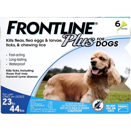FRONTLINE Plus for Medium Dogs (23-44 lbs) Flea and Tick Treatment, 6 Doses - Frontline Plus Dog Flea Control
