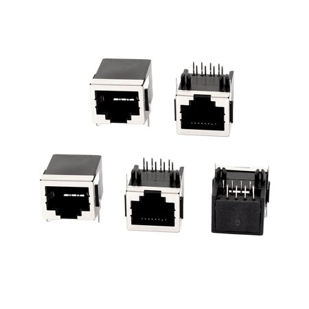 5Pcs Shielded RJ45 Plug 8P8C Network Modular PCB Mount Jack Connector