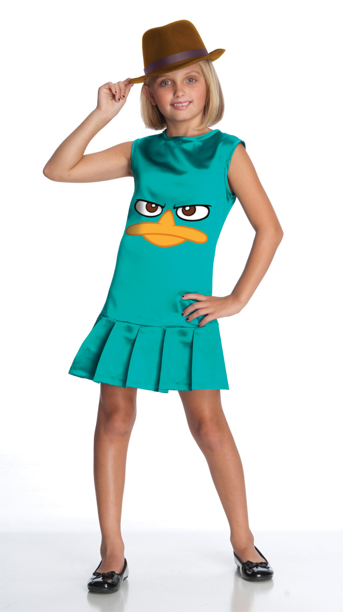 phineas and ferb sassy agent p costume dress child large 12-14