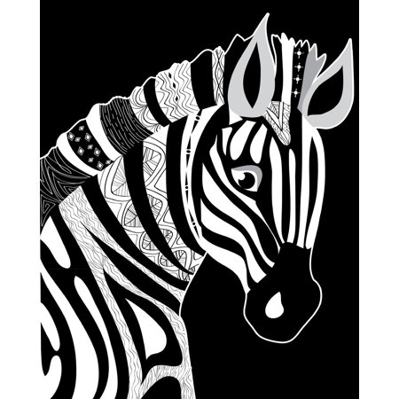 Journal Notebook for Animal Lovers Zentangly Zebra Head: 172 Page Blank Journal 8 X 10 Size, Unlined for Journaling, Writing, Planning or Doodling. - Blank Writing Journals