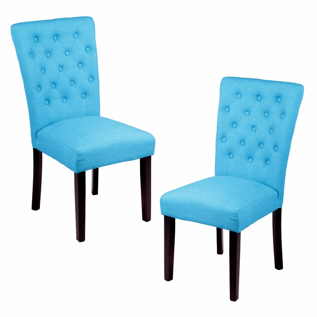 Modern Home Linen Button Tufted High Back Armless Dining Chairs | Wood Accent, Black Finish, Traditional Furniture (Set of 2) - (Frost Blue)