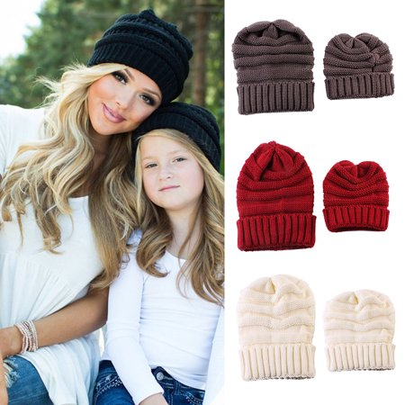 cd610e126c556 bluelans - Warm Knitted Beanie Hat Solid Color Mother Daughter Matching  Winter Skull Cap - Walmart.com