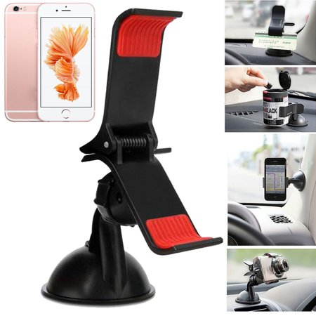 TSV 360 Degree Car Windshield Dashboard Clip Cellphone GPS Mount Stand Holder Bracket Universal New Long Arm Suction For Smartphone