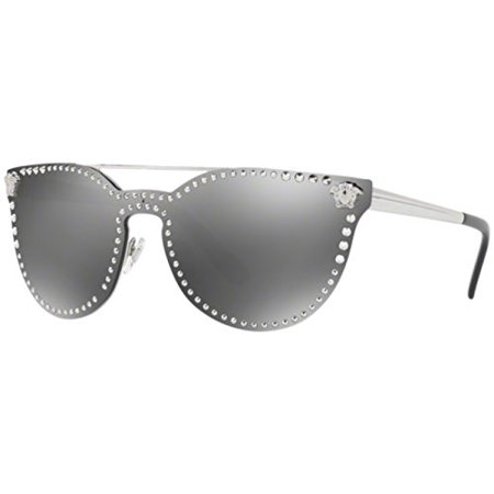 Versace VE2177 10006G Silver Grey Mirror Cat Eye -