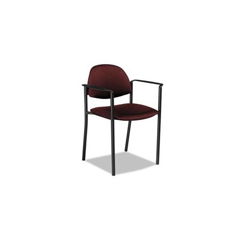 Global 2171BKPB07 Comet Series Stacking Arm Chair, Burgundy Polypropylene Fabric, 3/Carton