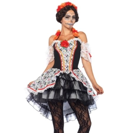 Calavera Halloween Makeup Men (Leg Avenue Women's Lovely Calavera Costume, Multi,)
