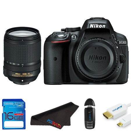 Nikon D5300 DSLR Camera + Nikon AF-S DX NIKKOR 18-140mm f/3.5-5.6G ED VR Lens + 16GB SD Card + Camera Case + Tripod + Pixi Starter Bundle Kit