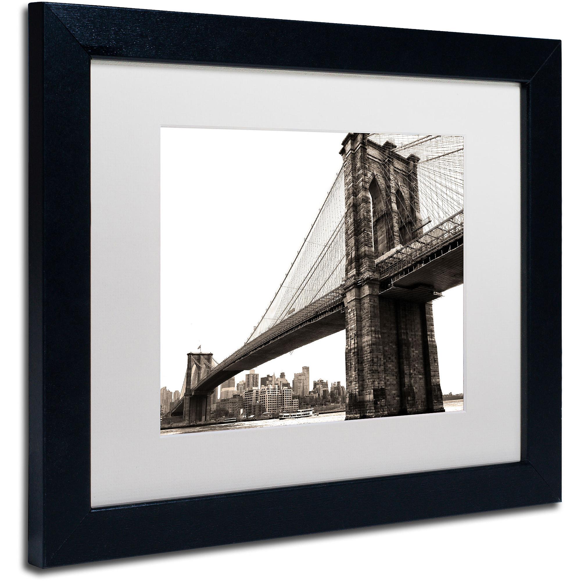 "Trademark Fine Art ""Brooklyn Bridge 2"" Canvas Art by CATeyes, White Matte, Black Frame"