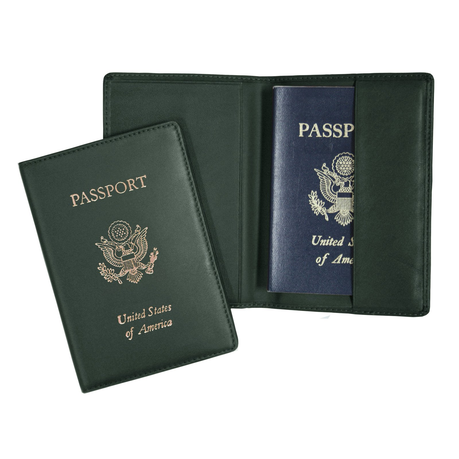 Royce Leather Foil Stamped Passport Jacket - Green