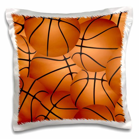 Basketball Pillow (3dRose Basketball pattern - orange brown basket balls - sport sports sporty sporting game team jock boys, Pillow Case, 16 by 16-inch )