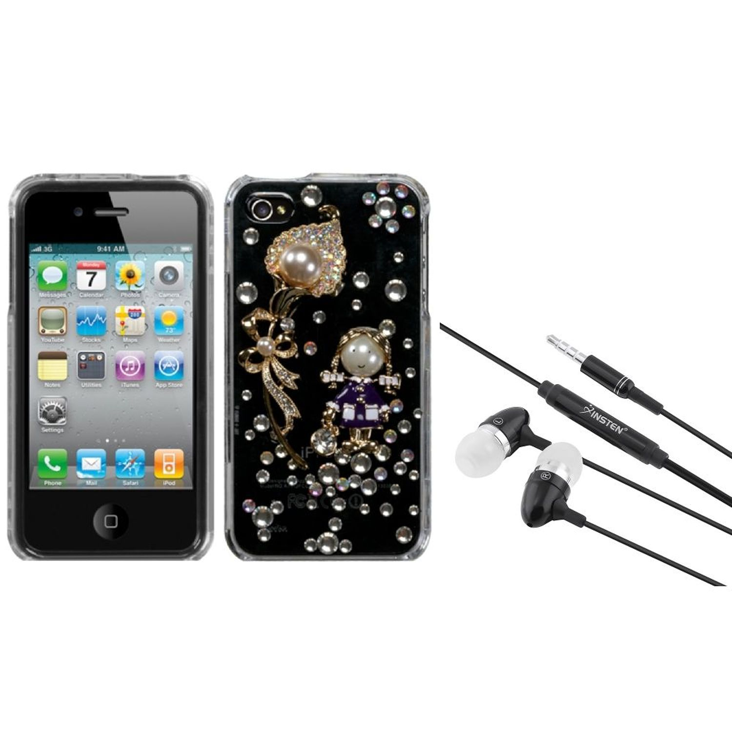 Insten Debby Diamond/The Pearl Flower Crystal 3D Diamante Case For iPhone 4 4S + 3.5mm Headset