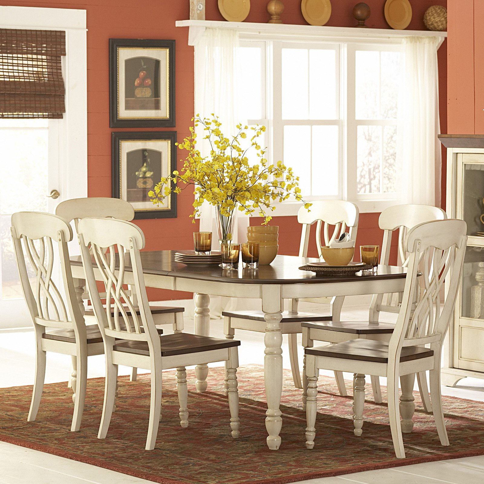 Weston Home. Ohana 7 Piece Rectangle Dining Table Set White & Cherry by Top-Line dba Homelegance