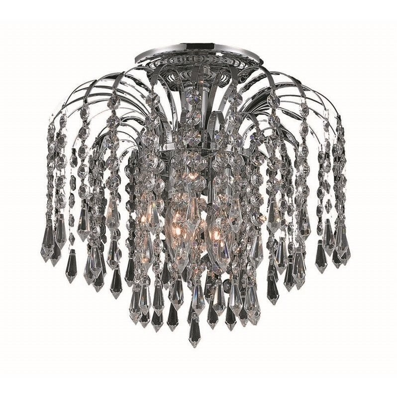 "Elegant Lighting Falls 12"" 3 Light Elegant Crystal Flush Mount"