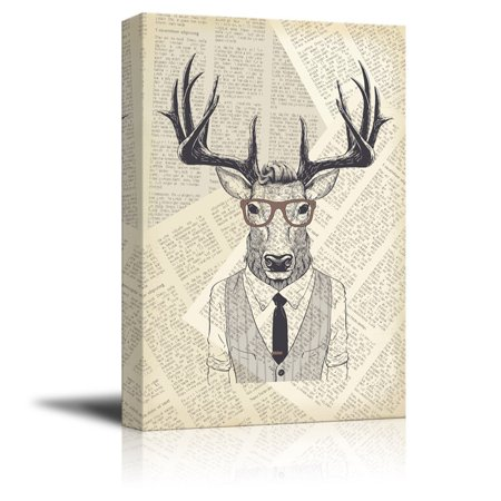 wall26 Creative Animal Figure on Vintage Paper Canvas Wall Art - Mr Elk in a Shirt Vest - Giclee Print Gallery Wrap Modern Home Decor Ready to Hang - 32x48 inches