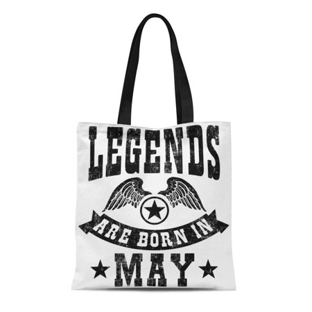 SIDONKU Canvas Tote Bag Birthday Legends Are Born in May Reusable Handbag Shoulder Grocery Shopping (Legends Shopping Center Stores)