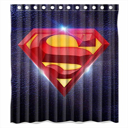 DEYOU Superman Logo In The Space Shower Curtain Polyester Fabric Bathroom Size 66x72 Inches