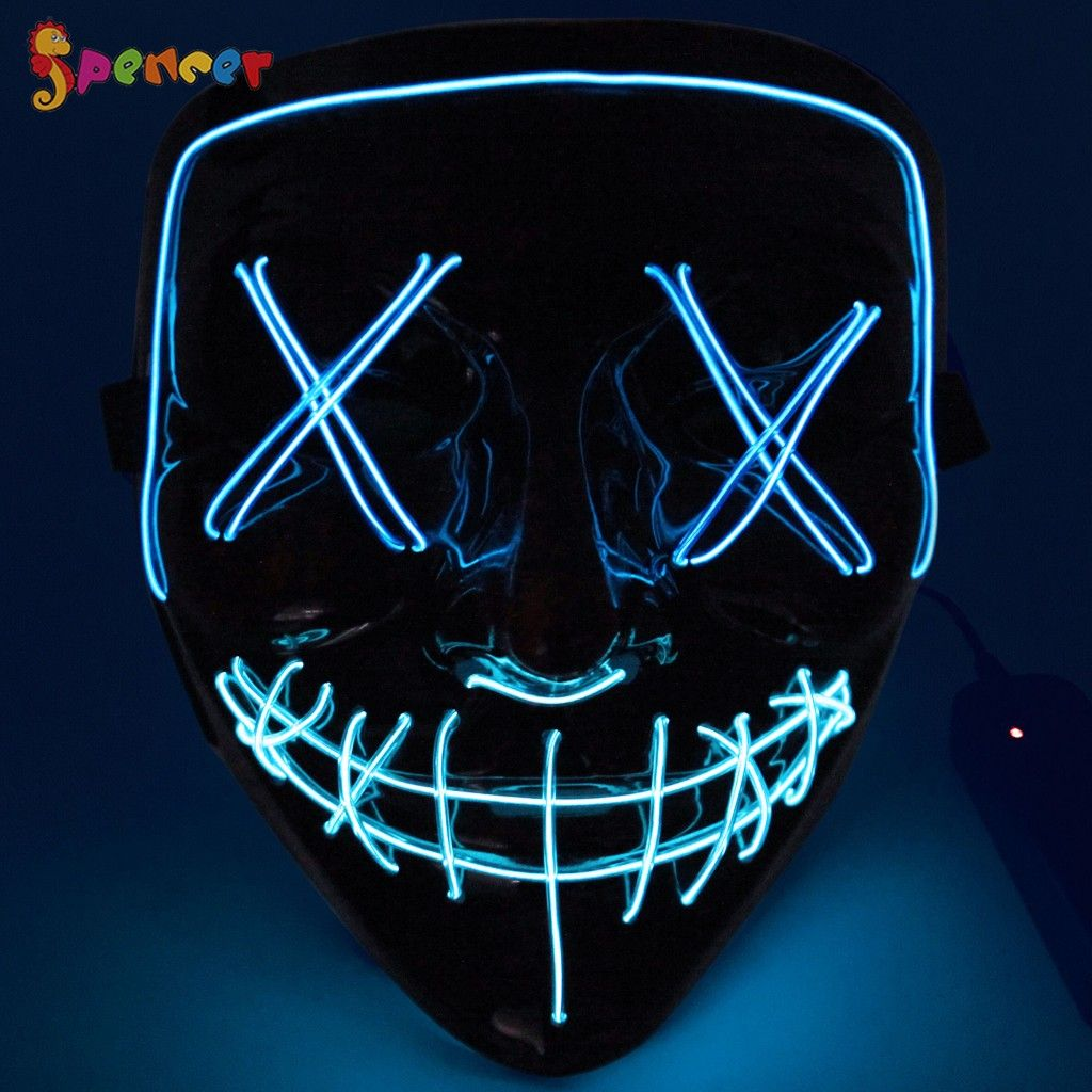 Halloween Scary Mask EL Wire LED Light Up Cosplay Costume Mask The Purge Movie
