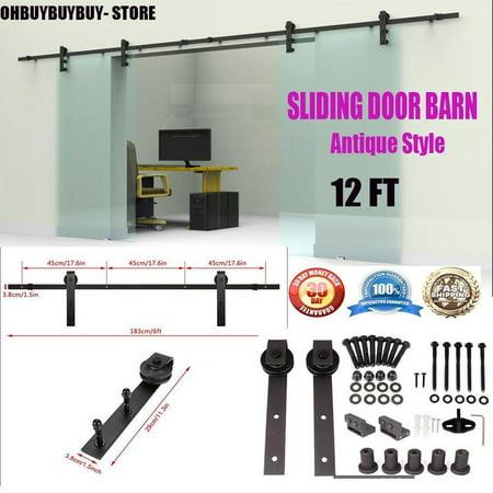 12 Ft Sliding Barn Door Kit Sliding Door Hardware Heavy Duty Double