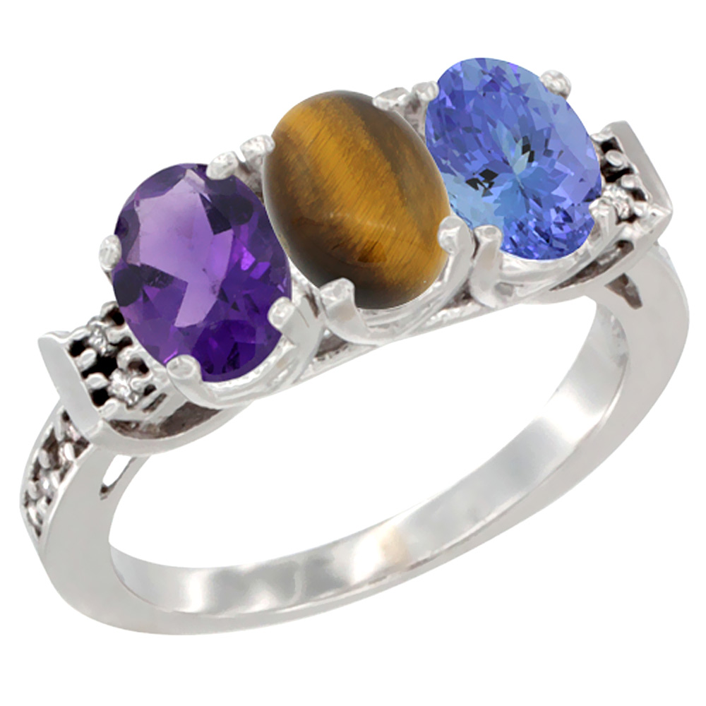 14K White Gold Natural Amethyst, Tiger Eye & Tanzanite Ring 3-Stone 7x5 mm Oval Diamond Accent, sizes 5 10 by WorldJewels