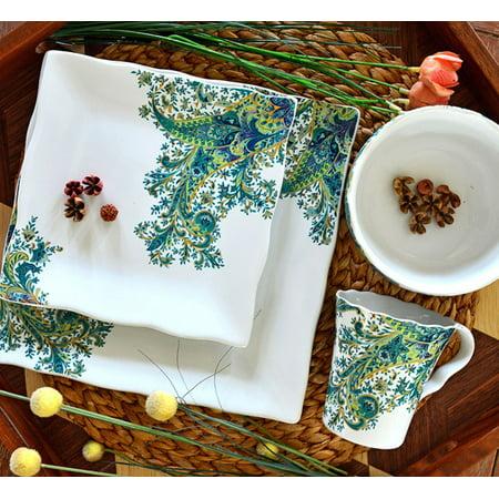 222 Fifth : Surya Teal 16 Piece Dinnerware Set