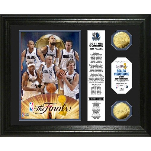 Highland Mint NBA Dallas Mavericks 2011 Champions Banner 24KT Gold Coin Photo Mint