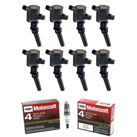 Set of 8 Ignition Coils & Motorcraft Spark Plugs SP479 Compatible with 1997-2004 Ford Expedition 4.6L 5.4L V8 Replacement for DG508 SP479