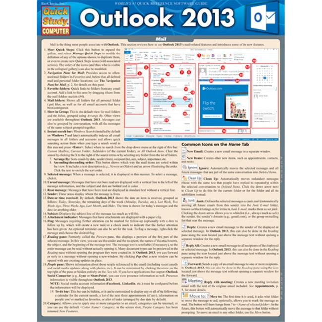 BarCharts 9781423220022 Outlook 2013 Quickstudy Easel