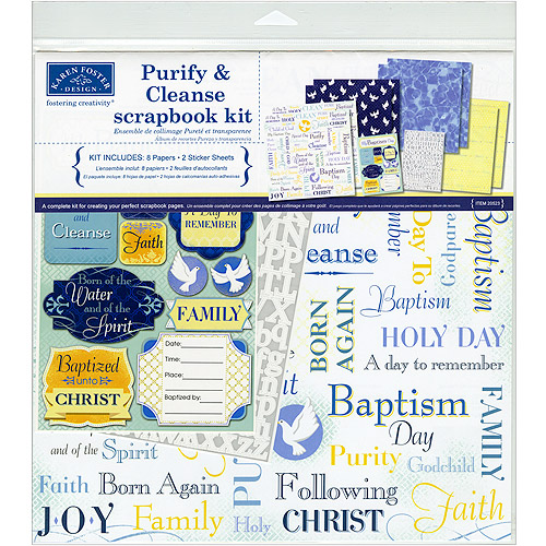 "Karen Foster Scrapbook Page Kit 12""X12""-Purify & Cleanse Baptism"