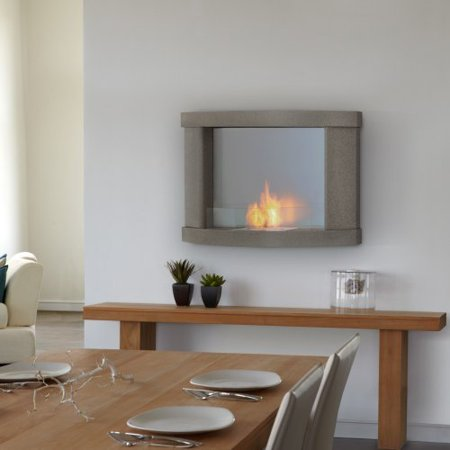 Real Flame Meridian Wall Hung Ventless Gel Fuel Fireplace Pebble Gray Wal