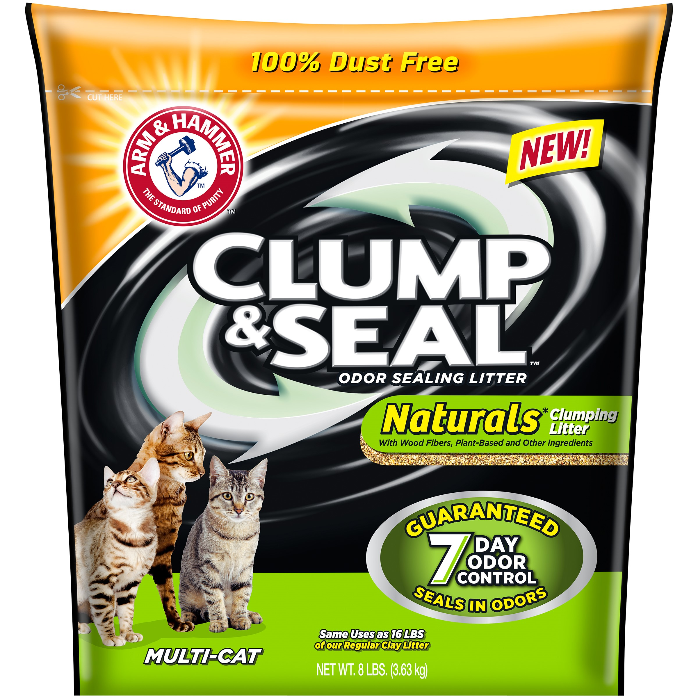 Arm & Hammer Clump & Seal Naturals Clumping Cat Litter, 8-lb