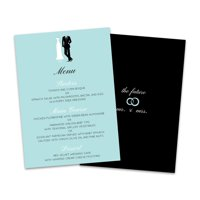 Personalized Bride & Groom Wedding Menu Card