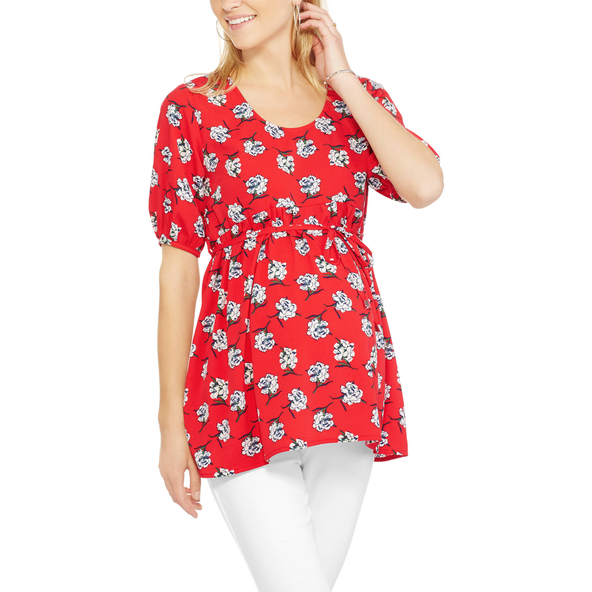 Oh Mamma Maternity Woven Elbow Sleeve Scoop Neck floral Print Top