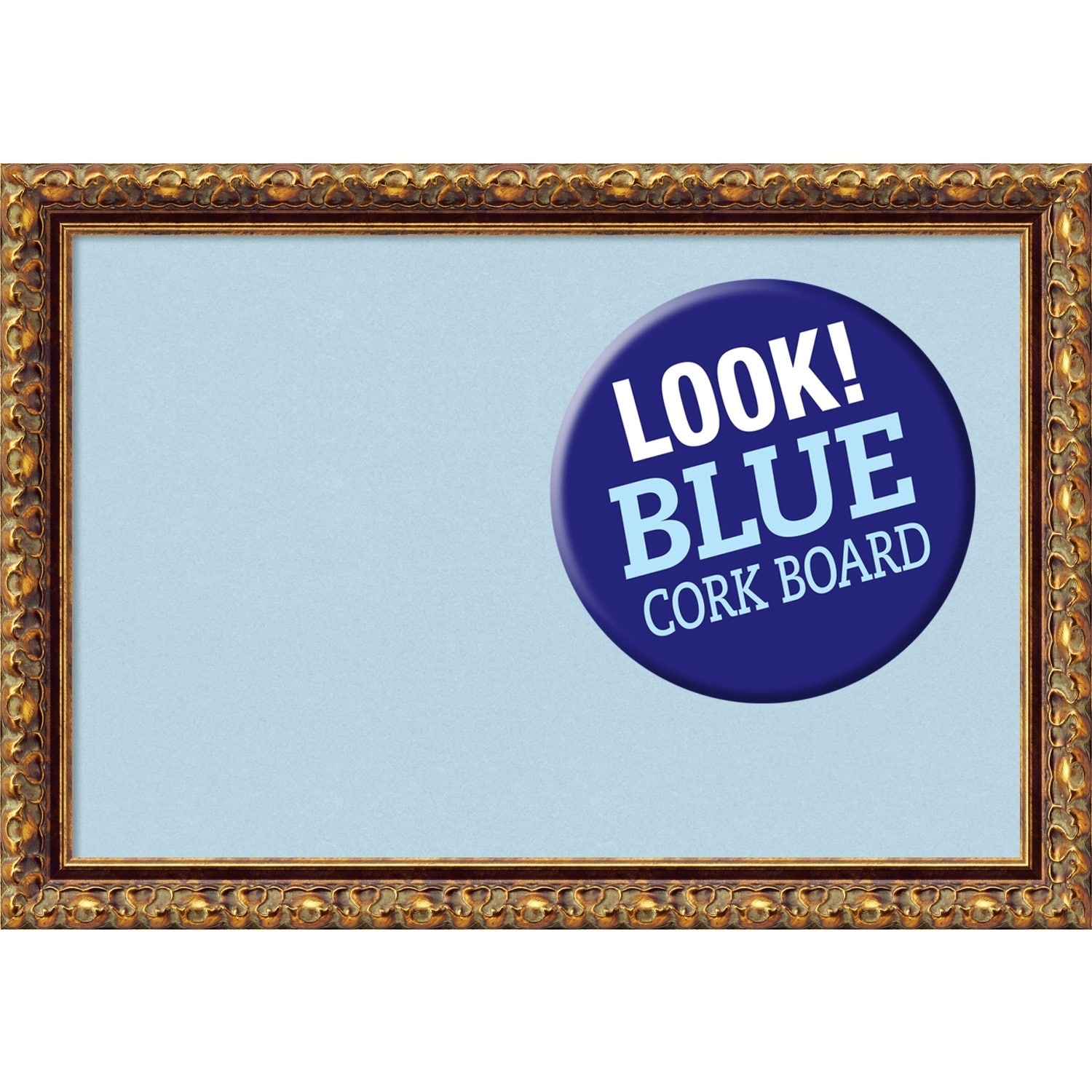 Amanti Art Framed White Cork Board, Antique Bronze