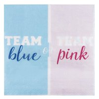150-Pack Team Blue or Pink Party Napkins, 2-Ply Disposable Paper Luncheon Napkins for Gender Reveal, Baby Shower Supplies, Folded 6.5 inches