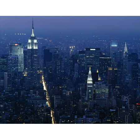 Canvas Print Building Empire State Manhattan Night New York Stretched Canvas 10 x 14](Empire State Building Halloween Night)