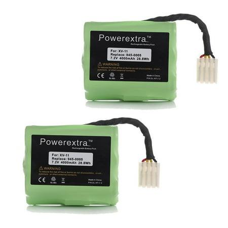 Powerextra 2-Pack 7.2V 4000mAh Replacement Battery for Neato XV-11 XV-15 XV-21 XV-25, XV Essential, XV Signature Pro Robotic Vacuum Cleaners Neato 945-0005 205-0001 - Upgraded ()