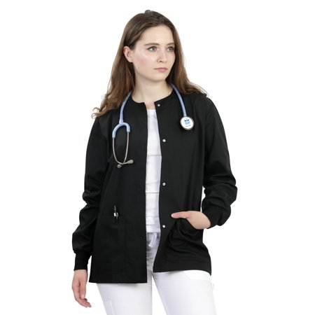 MAZEL UNIFORMS WOMENS SCRUB JACKET WITH KNIT SLEEVES - Novelty Knit Jacket