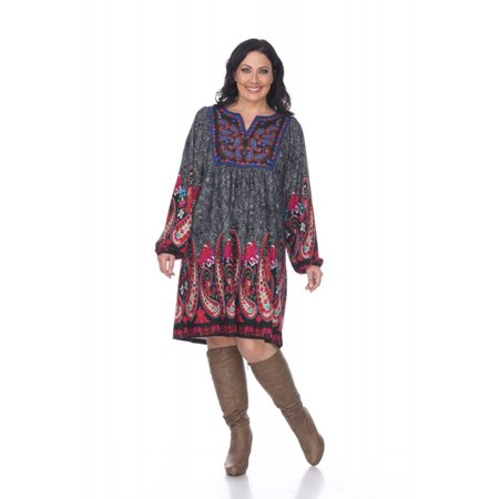 White Mark Casual Plus Size Long Style Apolline Embroidered Sweater Dress  For Women