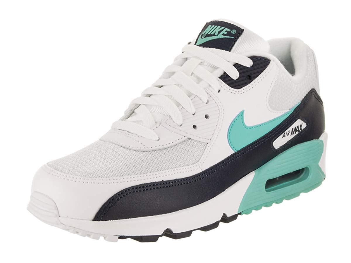 NIKE Mens Air Max 90 Essential White/Aurora Green/Obsidian Running Shoes