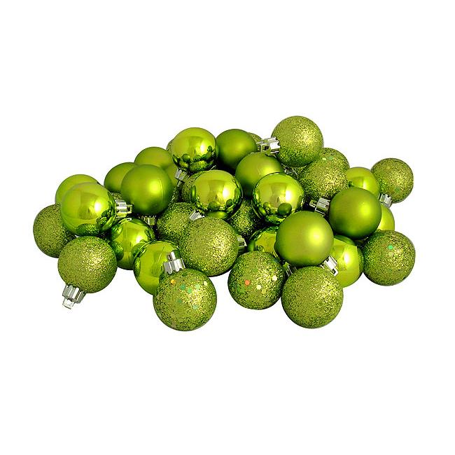 Northlight Seasonal 31754361 Shatterproof Green Kiwi 4-Finish Christmas Ball Ornaments