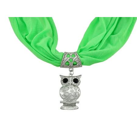 Neon Lime Green Rhinestone Owl Pendant Scarf Jewelry