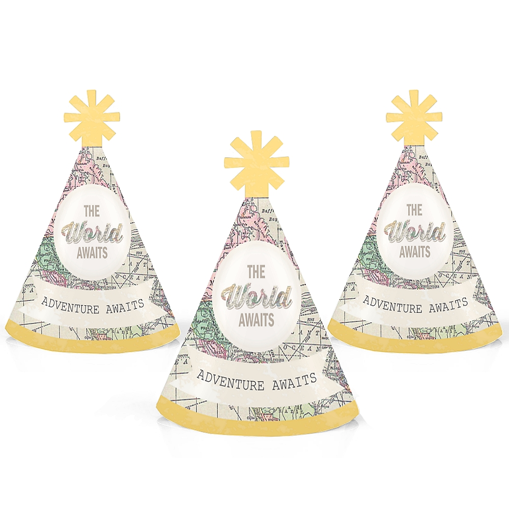 World Awaits - Travel Themed Mini Cone Party Hats - Small Little Party Hats - Set of 10