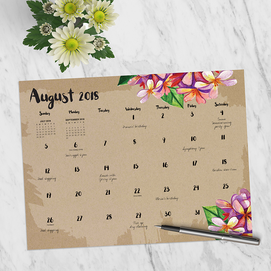"2019 Floral Kraft July 2018 - June 2019 Academic Year 12""x9"" Mini Desk Pad Calendar"