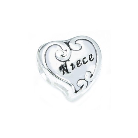 - Sterling Silver Love Niece Heart Flower Family Bead Charm Fits Pandora