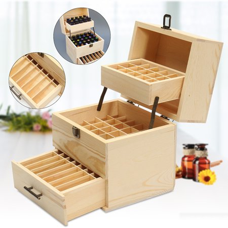 - Wooden Essential Oil Storage Box Case Aromatherapy Container Case Organizer, 59/ 32 Slots  Christmas Gift