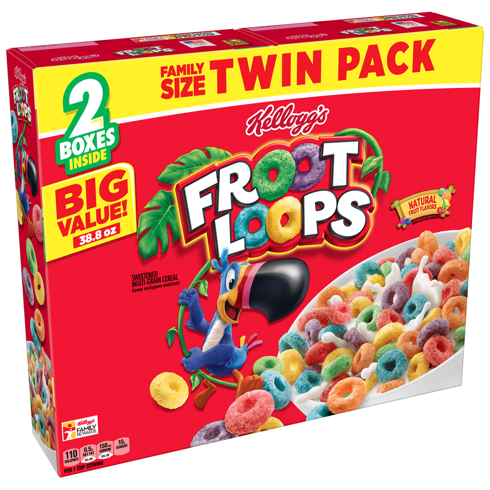 Kellogg's Froot Loops Breakfast Cereal, 38.8 Oz, Twin Pack, 2 Ct