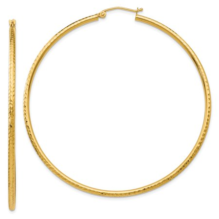 14k Yellow Gold Sparkle-Cut 2mm Round Tube Hoop Earrings - 3.2 Grams - Measures 56x56mm