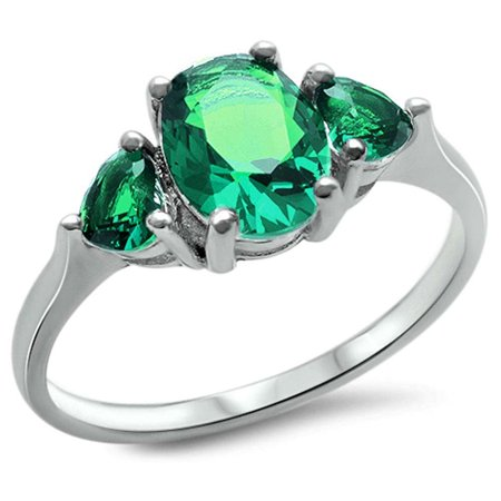 Sterling Silver Oval Lab Created White Opal & Greem Emerald Heart Ring Sizes 4-10 - Lab Created Emerald Ring